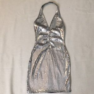 Dolls Kill high hunty sequined silver dress, small
